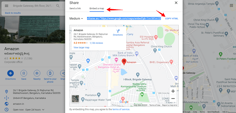 embed a map in google
