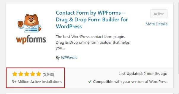 reviews and ratings wpforms in wordpress