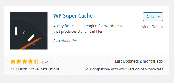wp super cache ratings and active installations in wordpress