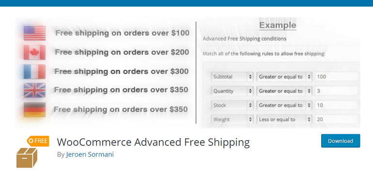 WooCommerce Advanced Free Shipping – WordPress plugin
