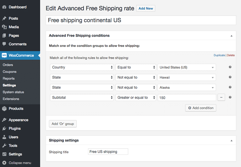 advanced free shipping rates setting