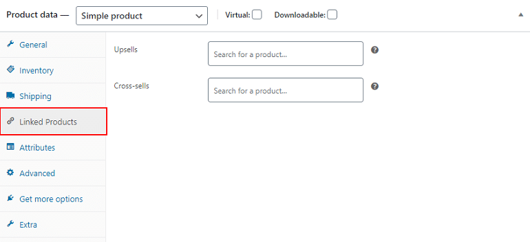 linked products in products data