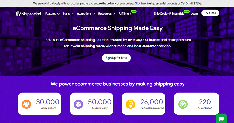 shiprocket ecommerce logistics shipping solutions