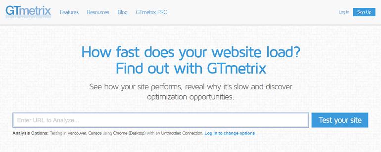 GTmetrix website speed & performance optimization tool