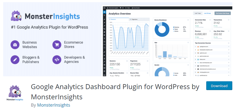 google analytics dashboard plugin wordpress woocommerce monsterinsights