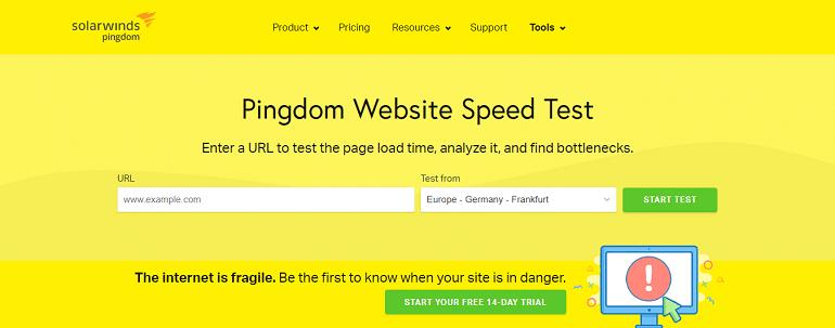 pingdom website speed test tools