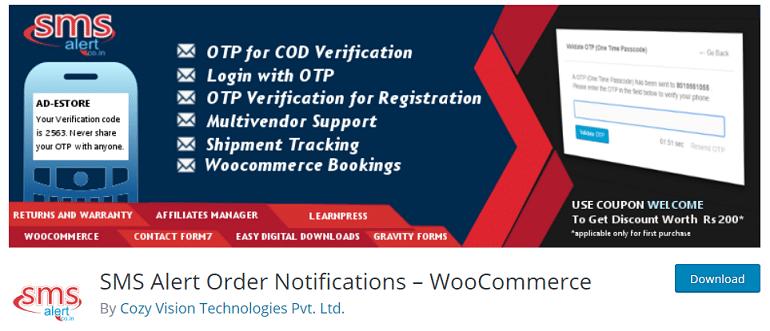 sms alert order notifications woocommerce wordpress plugin