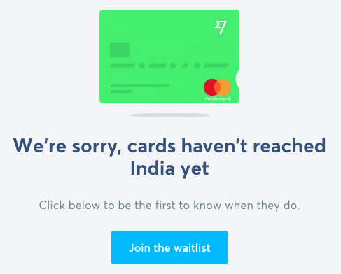 Wise Debit Card Not in India
